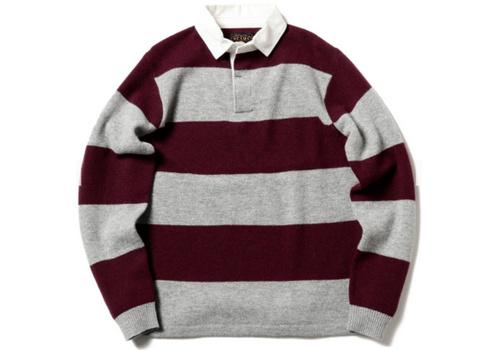BEAMS PLUS方领纽扣粗条纹羊毛保暖POLO衫男毛衣_潮牌值得买