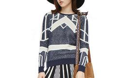 2.4折!JI CHENG 蓝色几何图案男女通款针织衫