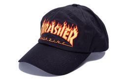 8.5折!THRASHER 圆顶火焰字母刺绣弯檐帽男街头棒球帽
