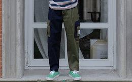 新品8折!TYAKASHA滑板猪系列拼色休闲裤男束脚裤