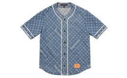 Louis Vuitton x Supreme 联名LV牛仔蓝短袖棒球衫1A3F9U