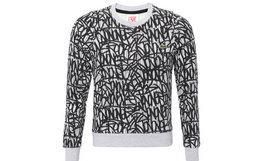 4折!法国Lacoste/拉科斯特 灰色圆领抽象印花卫衣