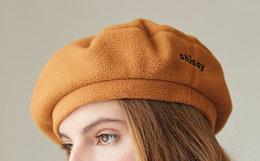 新品!Stussy摇粒绒纯色刺绣logo女式复古贝雷帽