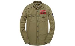 4折!Superdry纯色贴布徽章修身男军装风衬衫