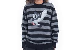4.8折!STAPLE鸽子圆领套头刺绣鸽子条纹男女毛衣