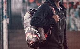 8折!SprayGround鲨鱼牙齿格子男女双肩包背包
