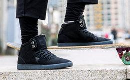 5.2折!DCSHOECOUSA系带羊绒黑色高帮运动鞋男板鞋