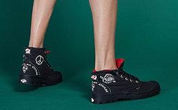 新品8折!PALLADIUM帕拉丁圆头涂鸦帆布鞋男女高帮鞋
