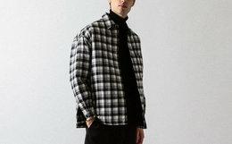 BEAUTY&YOUTH WEB 限定翻领格子男衬衫夹棉夹克