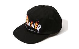 美潮THRASHER美版黑色间隔火焰标平檐帽棒球帽