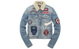 英国Superdry极度干燥Vintago多口袋植绒徽标做旧牛仔外套