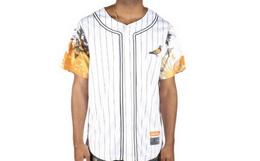 小幅优惠!美潮STAPLE 鸽子刺绣水墨花卉拼袖棒球衫