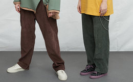 4折!Athief灯芯绒纯色直筒宽松男女工装裤