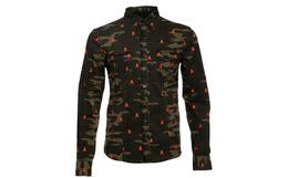 德国潮Philipp Plein棕色迷彩骷髅头长袖衬衫4折