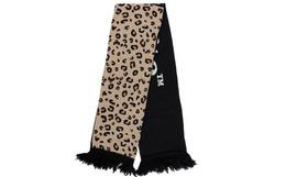 新品用劵优惠!OFF-WHITE豹纹箭头拼接字母针织男女围巾