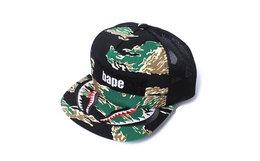 日潮Bape虎纹迷彩鲨鱼平檐棒球帽