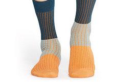 新品!Happy Socks男女拼色条纹四季中筒棉袜