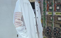 新品!易建联潮牌 US17翻领和鞋社会印花教练夹克男外套
