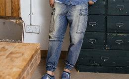 6.2折!蓝布屋侧面大口袋直筒修身束脚男牛仔裤
