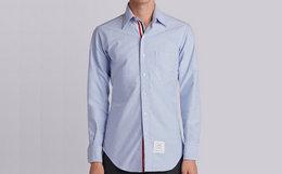 用券优惠!美国Thom Browne蓝色三色织带前襟牛津布衬衫