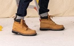 4.8折!CAT卡特圆头牛皮革双色鞋带男工装靴