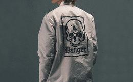 新品!DABOMB背部骷髅印花防水教练外套男夹克