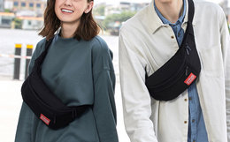 4.3折!曼哈顿撞色贴标logo斜跨运动胸包男女帆布腰包
