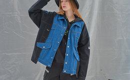 THE WIZ 黑蓝复古解构宽松拼接撞色刺绣男女牛仔夹克