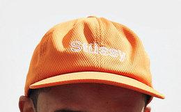 美潮Stussy字母刺绣网眼圆顶平沿棒球帽