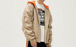 新品用劵!MishkaNYC大眼球拼接撞色连帽棒球服夹克