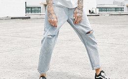 新品!陈赫TIANC BRAND破洞水洗直筒修身九分牛仔裤