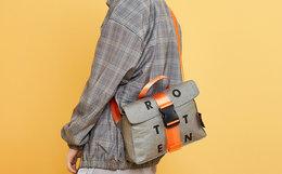3折!DRACONITE 牛皮纸袋拼接插扣斜挎包男女单肩包