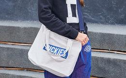 热卖5.5折!Dickies字母蓝色肩带大容量帆布袋