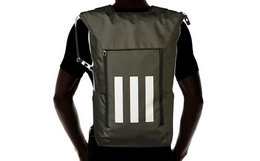 7折!Adidas阿迪达斯撞色条纹印花直筒双肩包