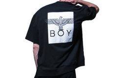 Boy London后背印花落肩袖宽松短袖T恤