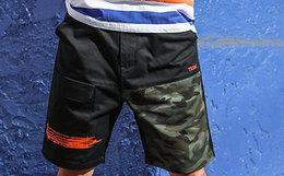 7折!蓝布屋迷彩拼接斜纹潮流工装裤短裤