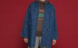 8.2折!TYAKASHA GOOD LUCK系列蓝色中长款牛仔外套