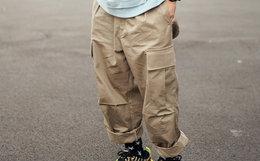 6.5折!FLOAT 直筒复古水洗抽绳魔术贴盖袋男束脚工装裤
