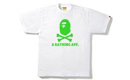 日潮bape经典海盗猿人头骨头印花纯棉男短袖T恤