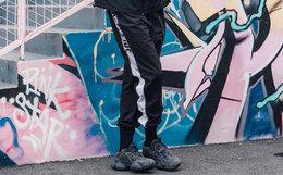 4.9折!DUSTY撞色织带男束脚裤1980S美式嘻哈运动裤