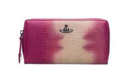 3折!英国Vivienne Westwood紫红白蜥蜴纹长款钱包