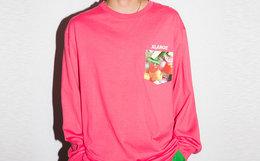 新品领劵!XLARGE 贴布口袋水果多图案印花刺绣男长袖T恤