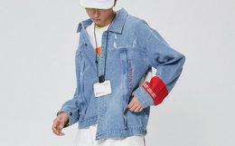 100元劵!stand by翻领按扣宽松破坏撞色男女牛仔外套