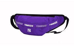 领劵优惠!MLB 刺绣字母防水面料腰包男女单肩斜跨胸包