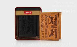 5.5折!Levis/李维斯复古皮牌铁盒特色三折钱包