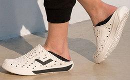 新品7折!PONY波尼拼接松紧一脚蹬男女凉拖鞋洞洞鞋