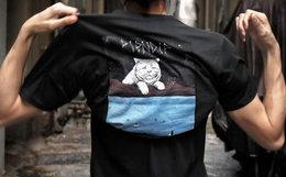 6.4折!RIPNDIP背后贱猫宇宙星空猫印花男女短袖T恤