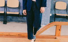 6.6折!蓝布屋赤耳丹宁宽松薄款节点直筒牛仔裤