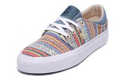 新品6.5折!美潮DCSHOECOUSA民族风条纹拼色帆布滑板鞋
