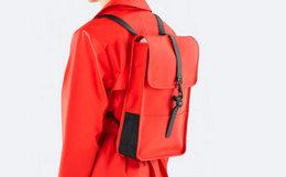 Rains 时尚简约拼接卡扣轻便防水双肩包男女同款背包